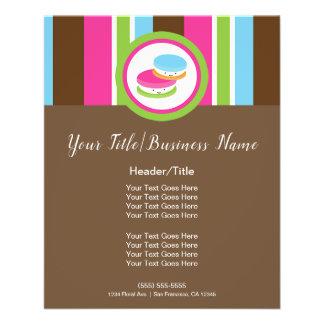 Cute Colorful Bakery Macaroons Fun Stripe Flyer