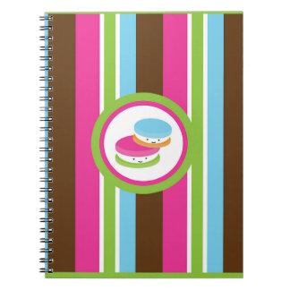 Cute Colorful Bakery Macaroons Fun Stripe Notebooks