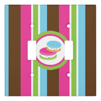Cute Colorful Bakery Macaroons Fun Stripes Light Switch Cover