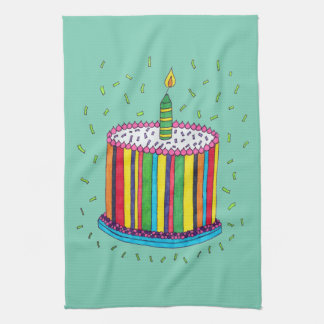 Cute Colorful Birthday Party Cake Kitchen Towel