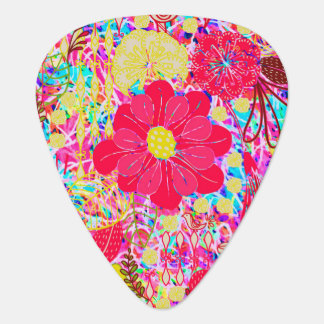 Cute colorful bright flowers guitar pick