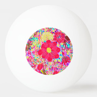 Cute colorful bright flowers ping pong ball