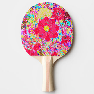Cute colorful bright flowers ping pong paddle