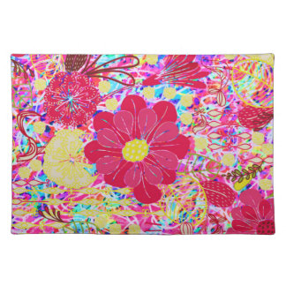 Cute colorful bright flowers placemat