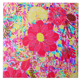 Cute colorful bright flowers tile