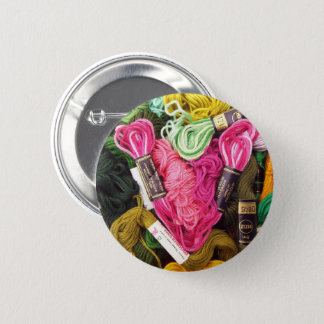 Cute colorful bright pink  embroidery heart 2 inch round button