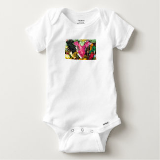 Cute colorful bright pink  embroidery heart baby onesie