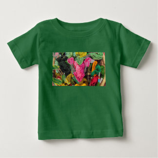 Cute colorful bright pink  embroidery heart baby T-Shirt