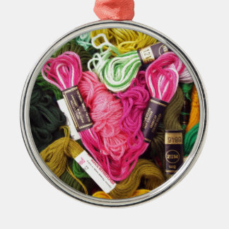 Cute colorful bright pink  embroidery heart metal ornament