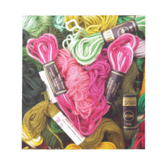 Cute colorful bright pink  embroidery heart notepad