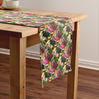 Cute colorful bright pink  embroidery heart short table runner