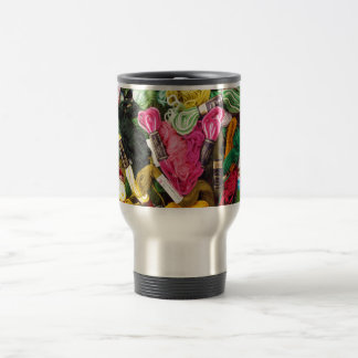 Cute colorful bright pink  embroidery heart travel mug
