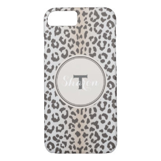 Cute colorful brown beige cheetah print monogram iPhone 7 case