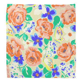 Cute colorful butterflies roses patterns bandana