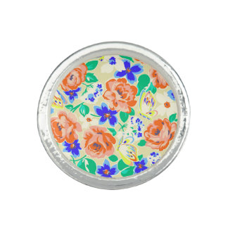 Cute colorful butterflies roses patterns photo rings