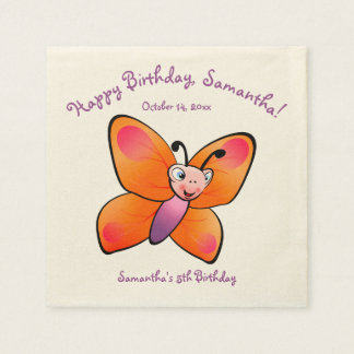 Cute Colorful Butterfly Cartoon Paper Napkins