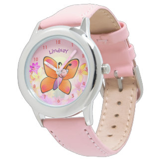 Cute Colorful Butterfly Cartoon Watch