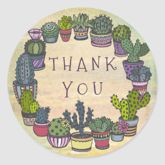 Cute Colorful Cactus Thank You Round Sticker