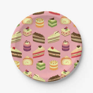 Cute Colorful Cakes Tea Party Pattern Paper Plate