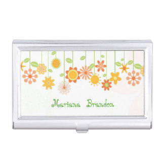 Cute Colorful Cartoon Flowers Business Card Cases