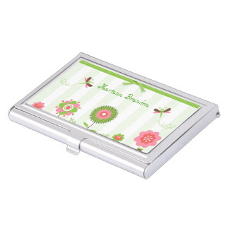 Cute Colorful Cartoon Flowers & Butterfly's Business Card Cases