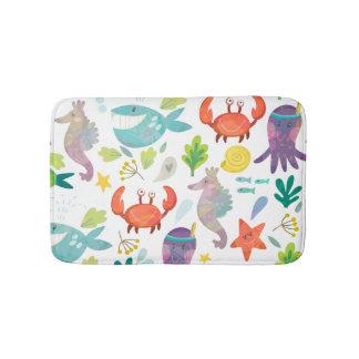 Cute Colorful Cartoon Sea Animals Seamless Pattern Bathroom Mat