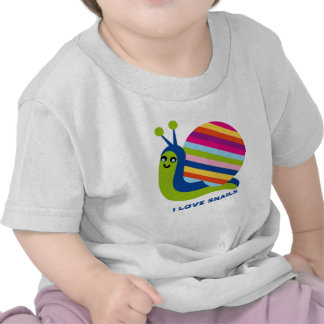 Cute Colorful Cartoon Style Snails-I Love Snails Tees