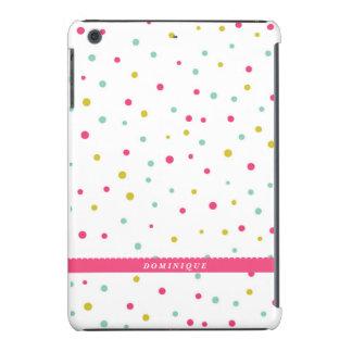 Cute Colorful Confetti Dots Pattern Personalized iPad Mini Cover