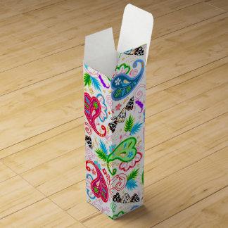 Cute colorful decorative flowers patterns wine box