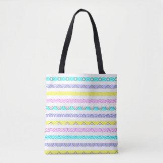 Cute colorful decorative stripes pattern tote bag