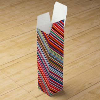 Cute colorful decorative stripes wine bottle box