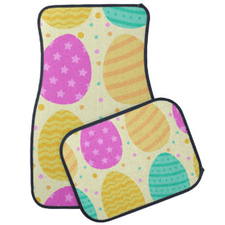 Cute colorful easter eggs pattern car mat