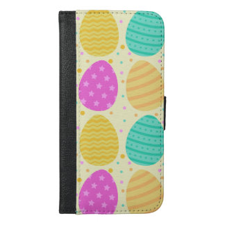 Cute colorful easter eggs pattern iPhone 6/6s plus wallet case