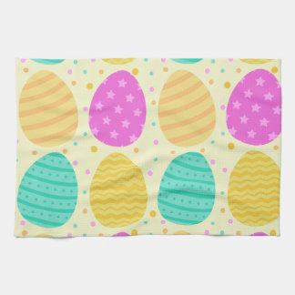 Cute colorful easter eggs pattern kitchen towel