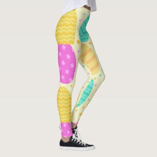 Cute colorful easter eggs pattern leggings
