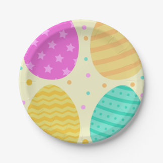 Cute colorful easter eggs pattern paper plate