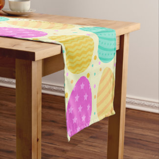 Cute colorful easter eggs pattern short table runner