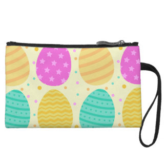 Cute colorful easter eggs pattern wristlet