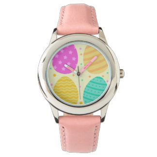 Cute colorful easter eggs pattern wristwatches