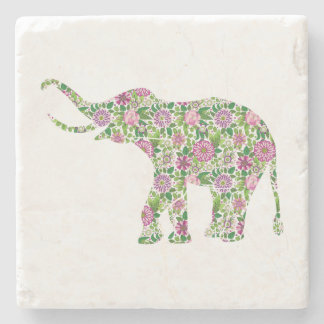 Cute Colorful Elephant Illustration Stone Coaster