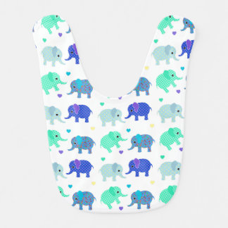 Cute Colorful Elephants Baby Bib
