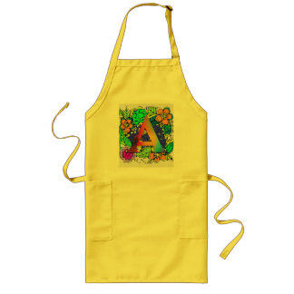 Cute Colorful Floral A monogrammed Pattern Girly Long Apron