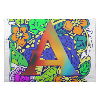 Cute Colorful Floral A monogrammed Pattern Girly Placemat