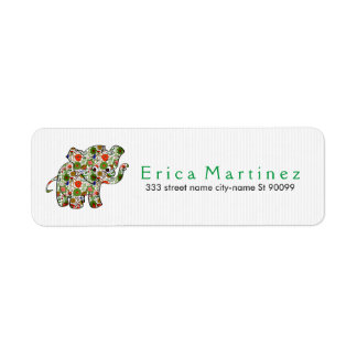 Cute Colorful Floral Baby Elephant Return Address Label