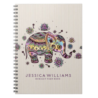 Cute Colorful Floral Baby Elephant Spiral Notebook