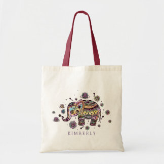 Cute Colorful Floral Baby Elephant Tote Bag