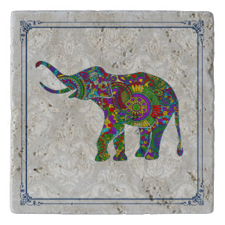 Cute Colorful Floral Elephant Illustration Trivet