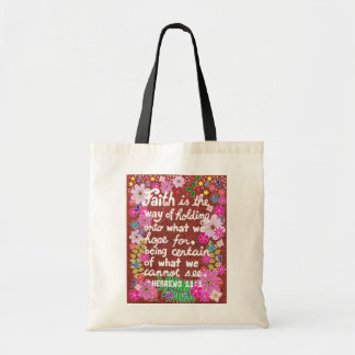 Cute Colorful Floral Faith Bible Verse Tote Bag