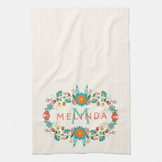 Cute Colorful Floral Frame Kitchen Towel