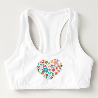 Cute Colorful Floral Heart Illustration Sports Bra